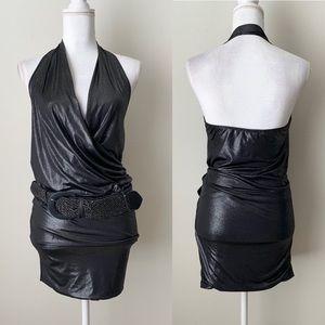 Forever 21 gray metallic halter mini dress